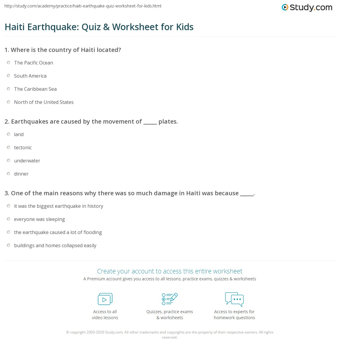 Haiti Earthquake Quiz Amp Worksheet For Kids