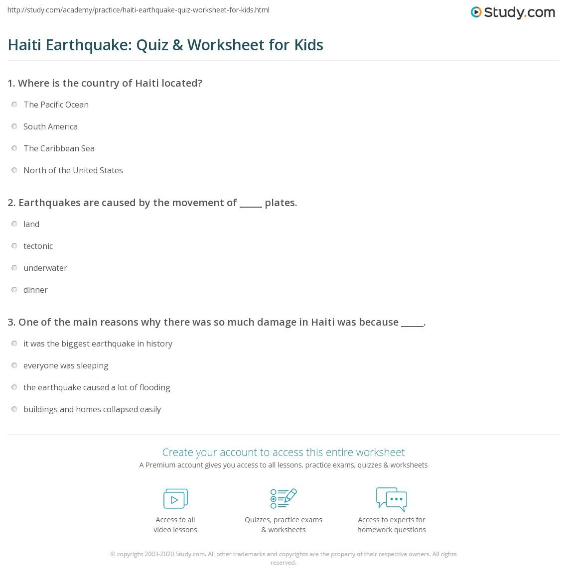 Worksheet On Haiti