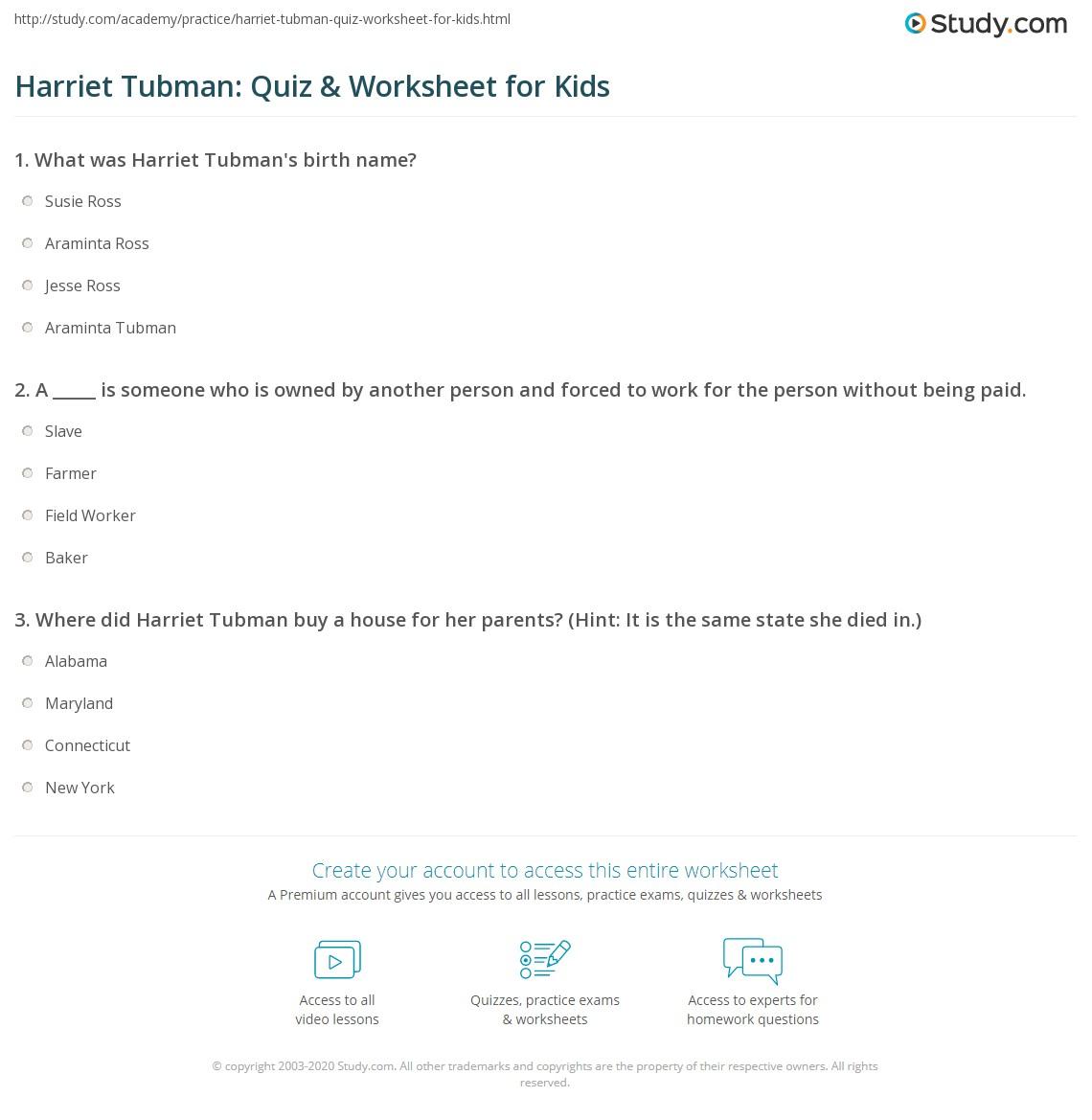 Harriet Tubman Quiz Amp Worksheet For Kids