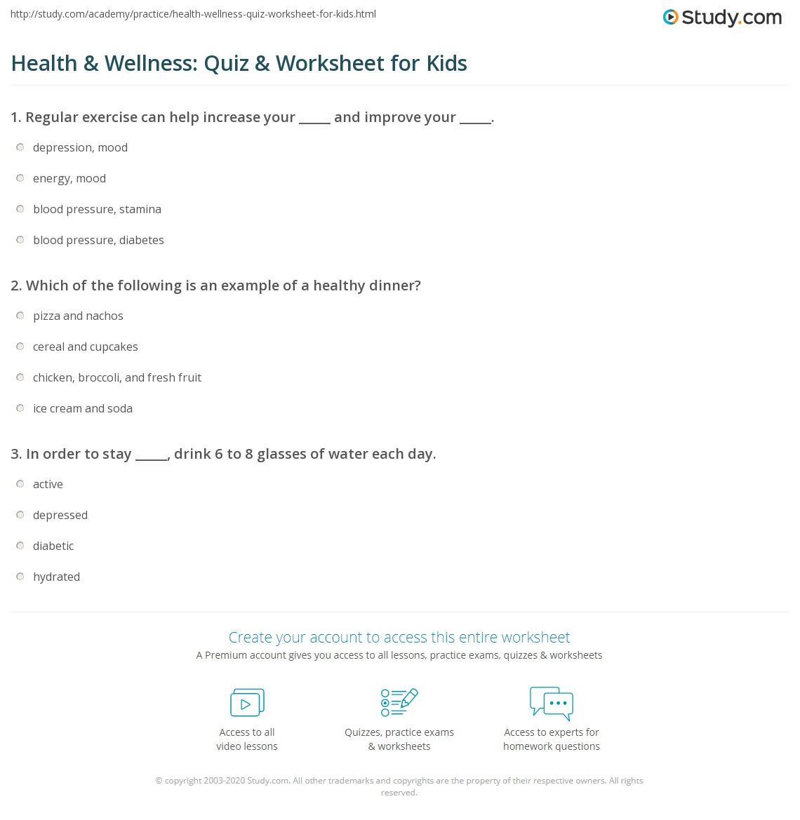 hight resolution of Health \u0026 Wellness: Quiz \u0026 Worksheet for Kids   Study.com