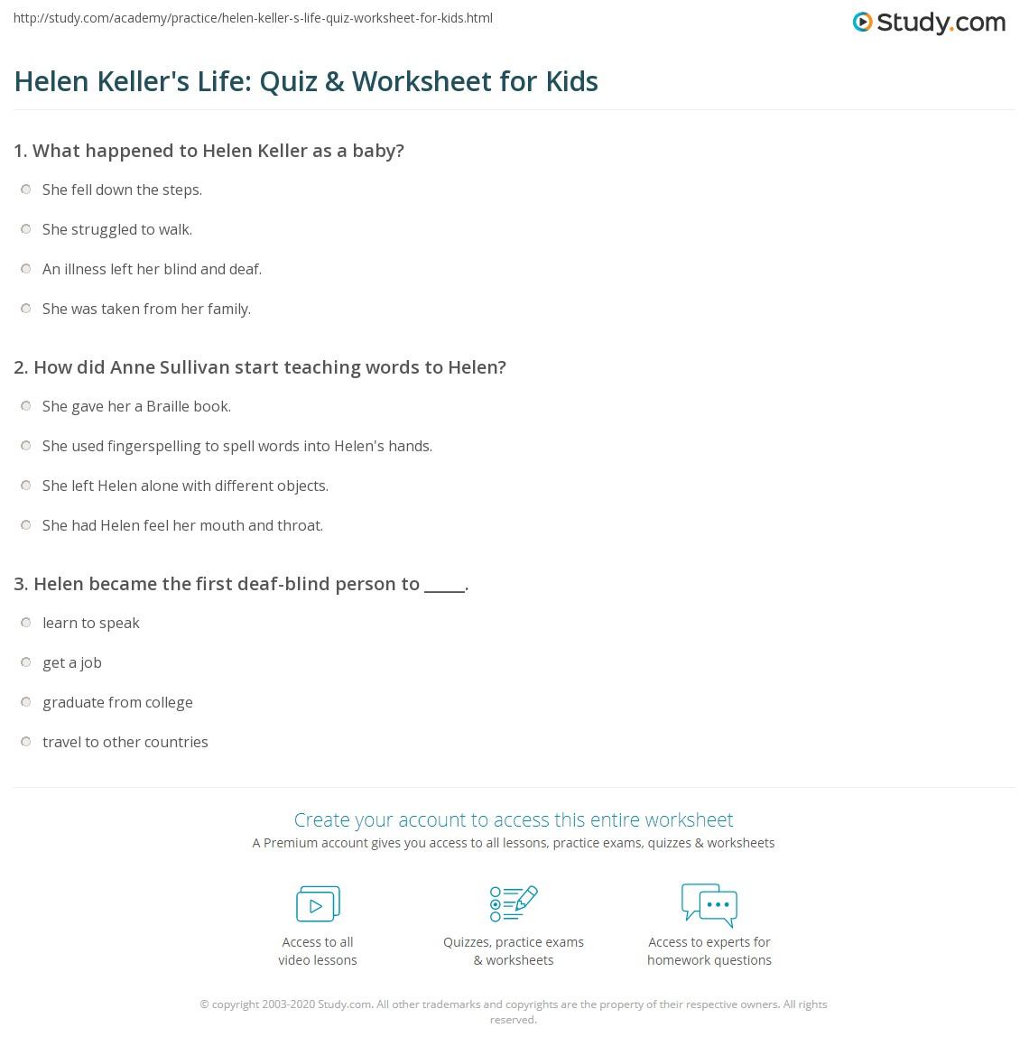 Worksheet Helen Keller