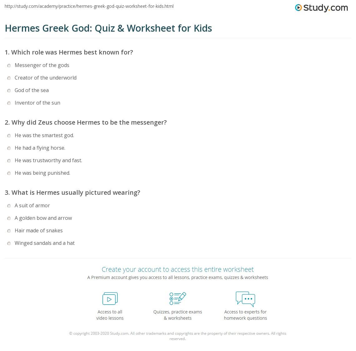 Hermes Greek God Quiz Amp Worksheet For Kids