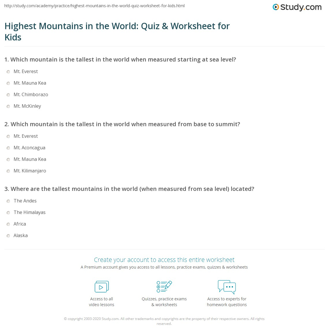 Highest Mountains In The World Quiz Amp Worksheet For Kids