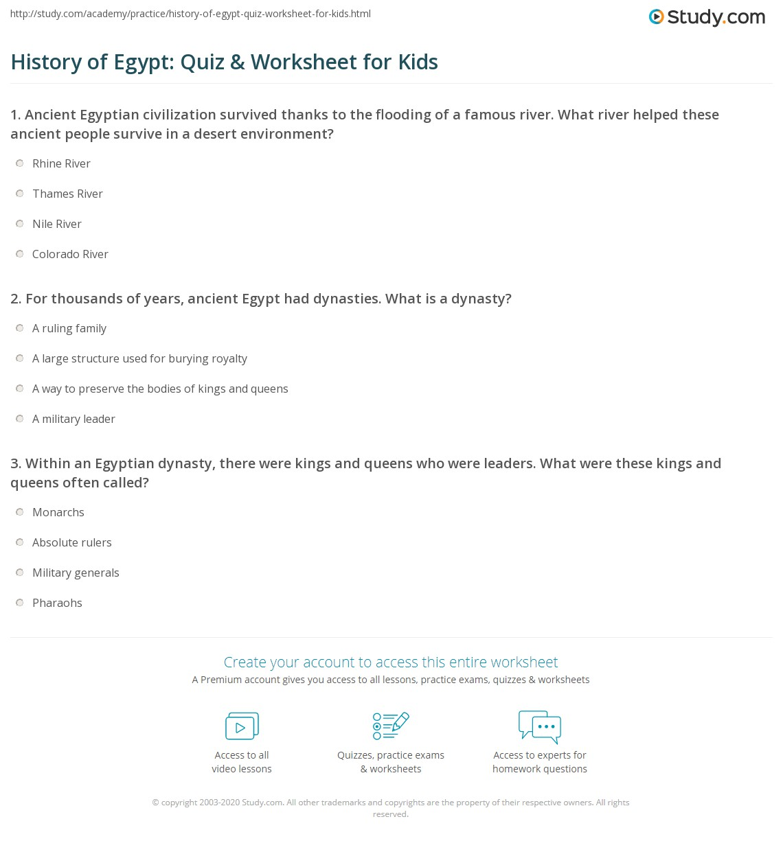 History Of Egypt Quiz Amp Worksheet For Kids