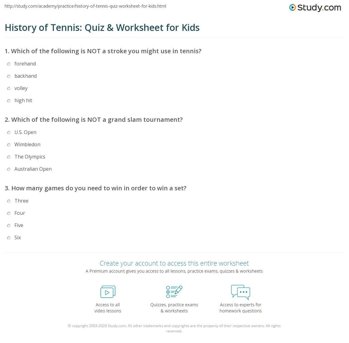 History Of Tennis Quiz Amp Worksheet For Kids
