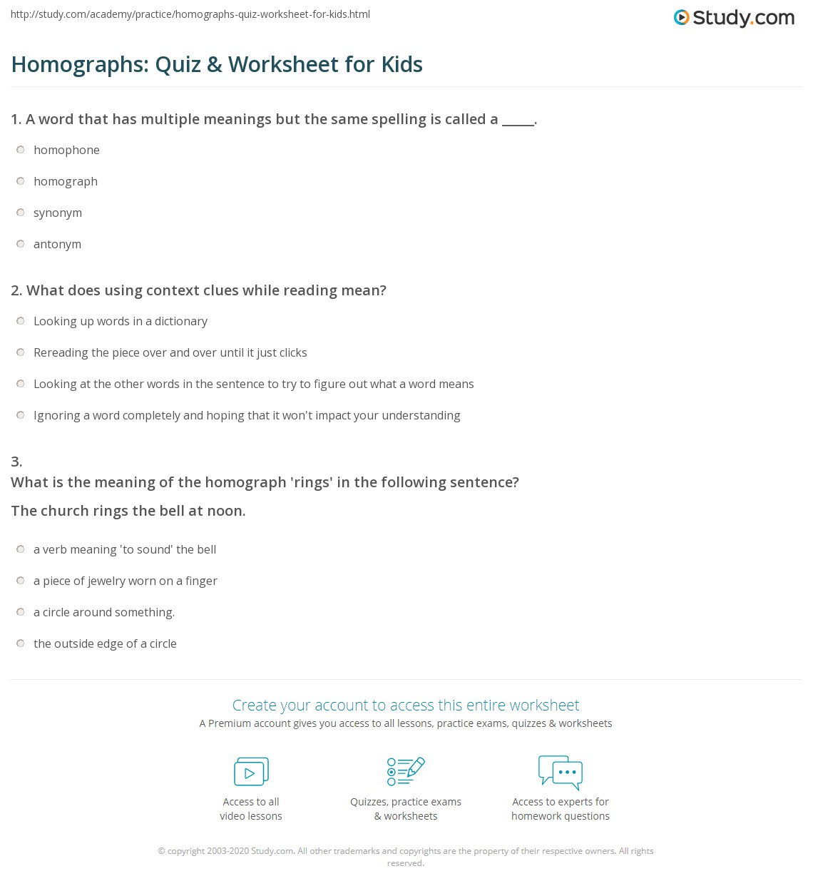 Homographs Quiz Amp Worksheet For Kids