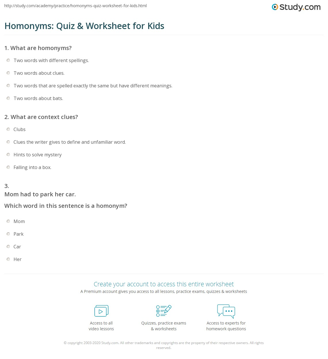 Homonyms Quiz Amp Worksheet For Kids