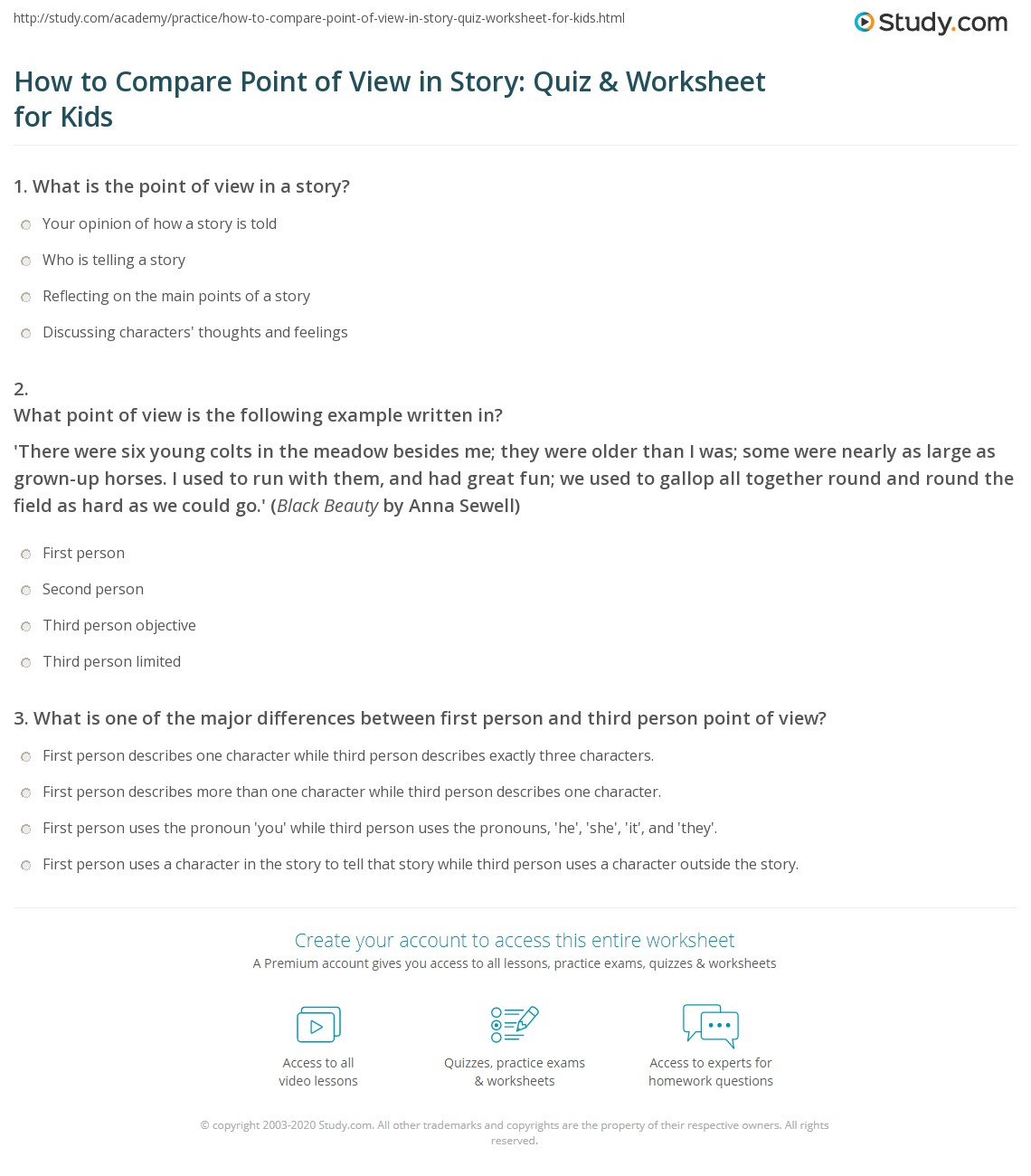 How To Compare Point Of View In Story Quiz Amp Worksheet