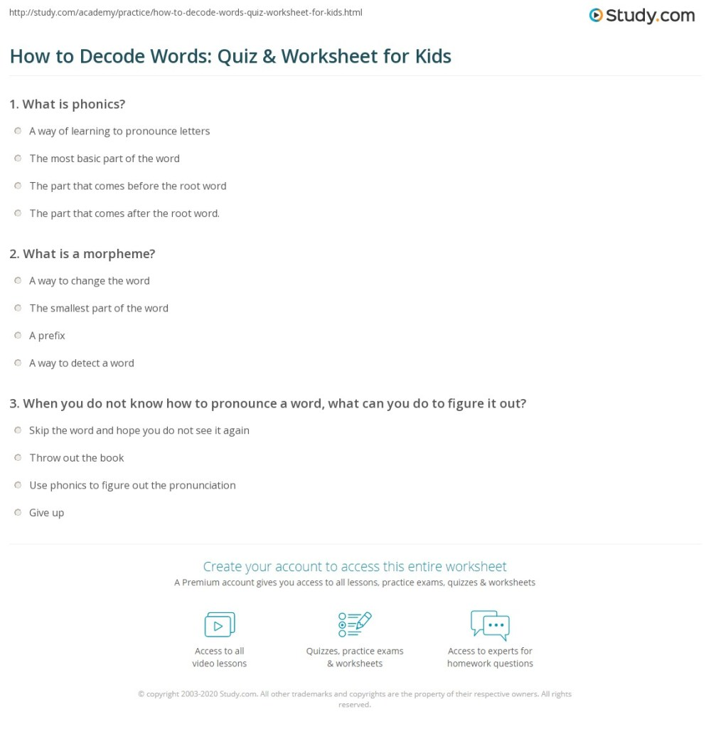 medium resolution of How to Decode Words: Quiz \u0026 Worksheet for Kids   Study.com