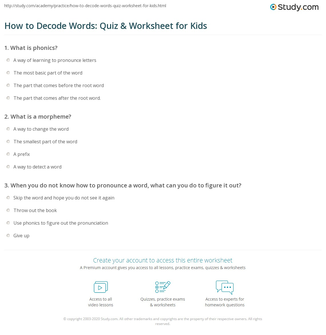 hight resolution of How to Decode Words: Quiz \u0026 Worksheet for Kids   Study.com