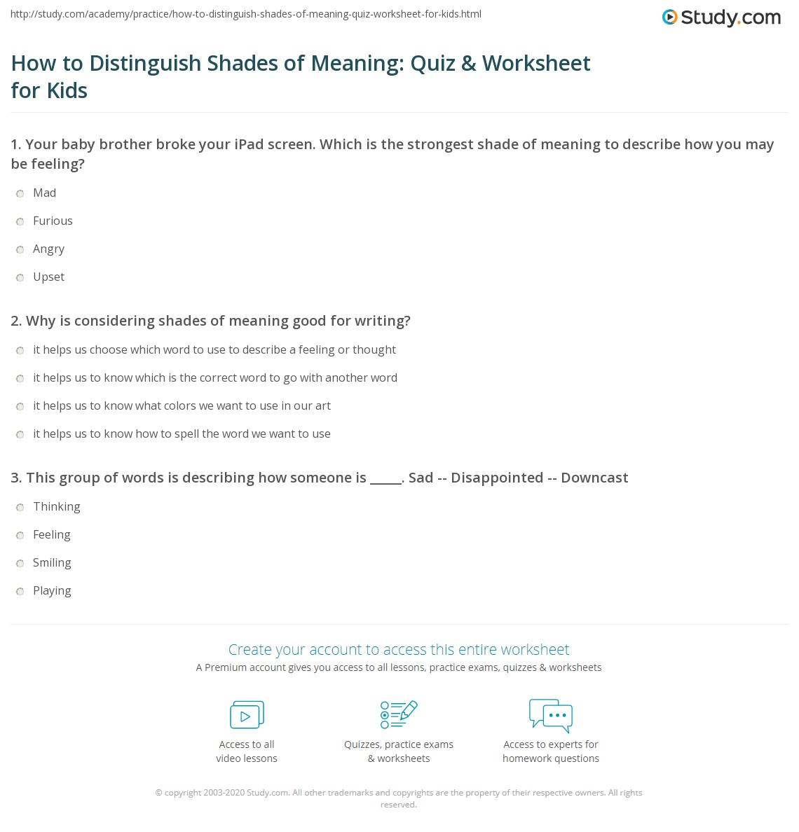 How To Distinguish Shades Of Meaning Quiz Amp Worksheet For Kids