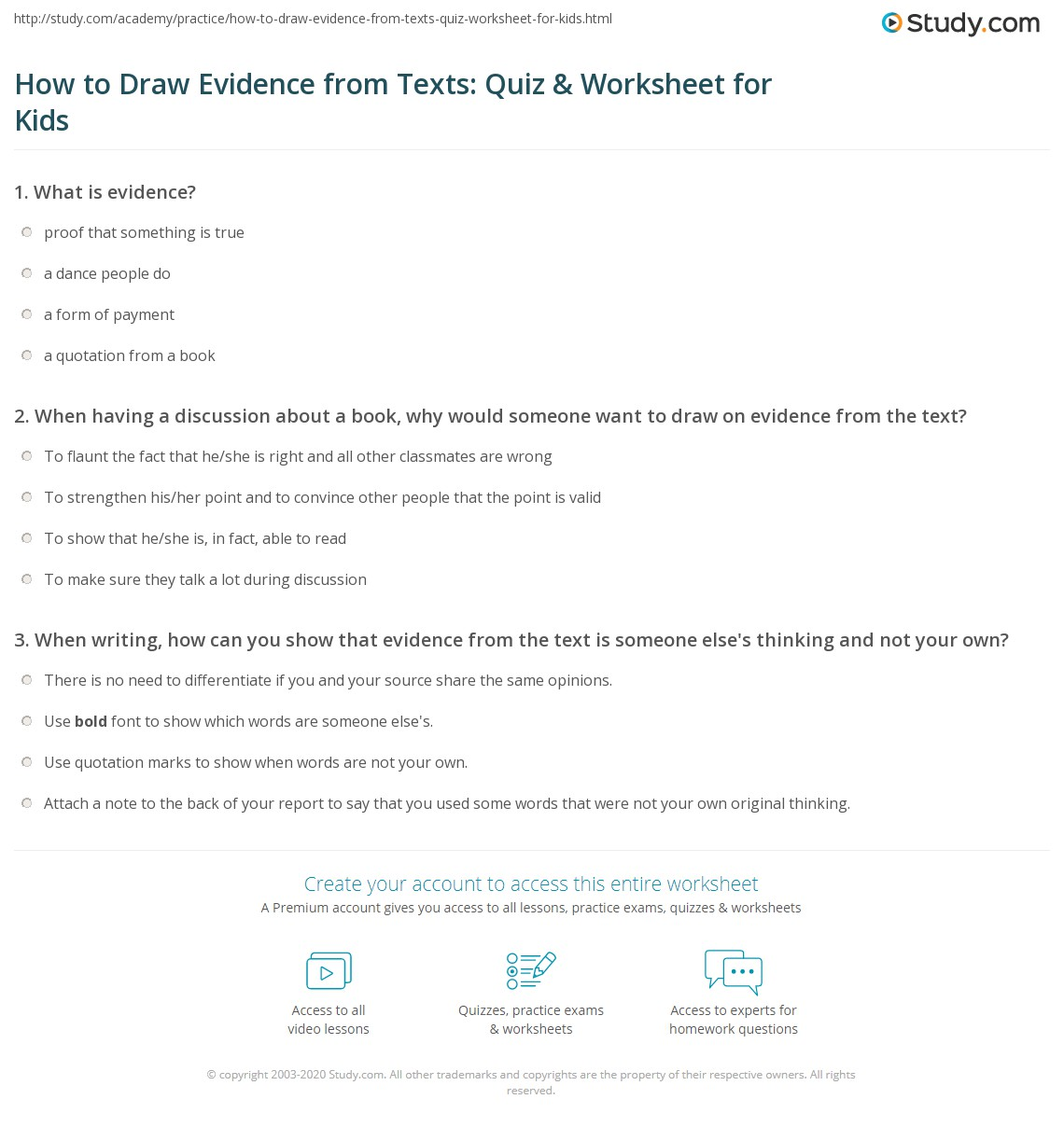 How To Draw Evidence From Texts Quiz Amp Worksheet For Kids