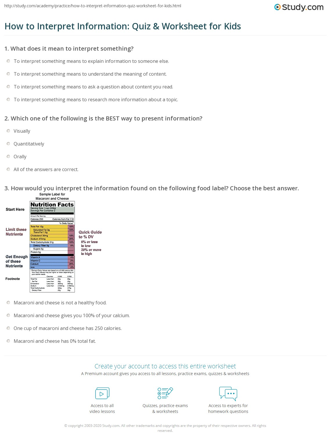 How To Interpret Information Quiz Amp Worksheet For Kids