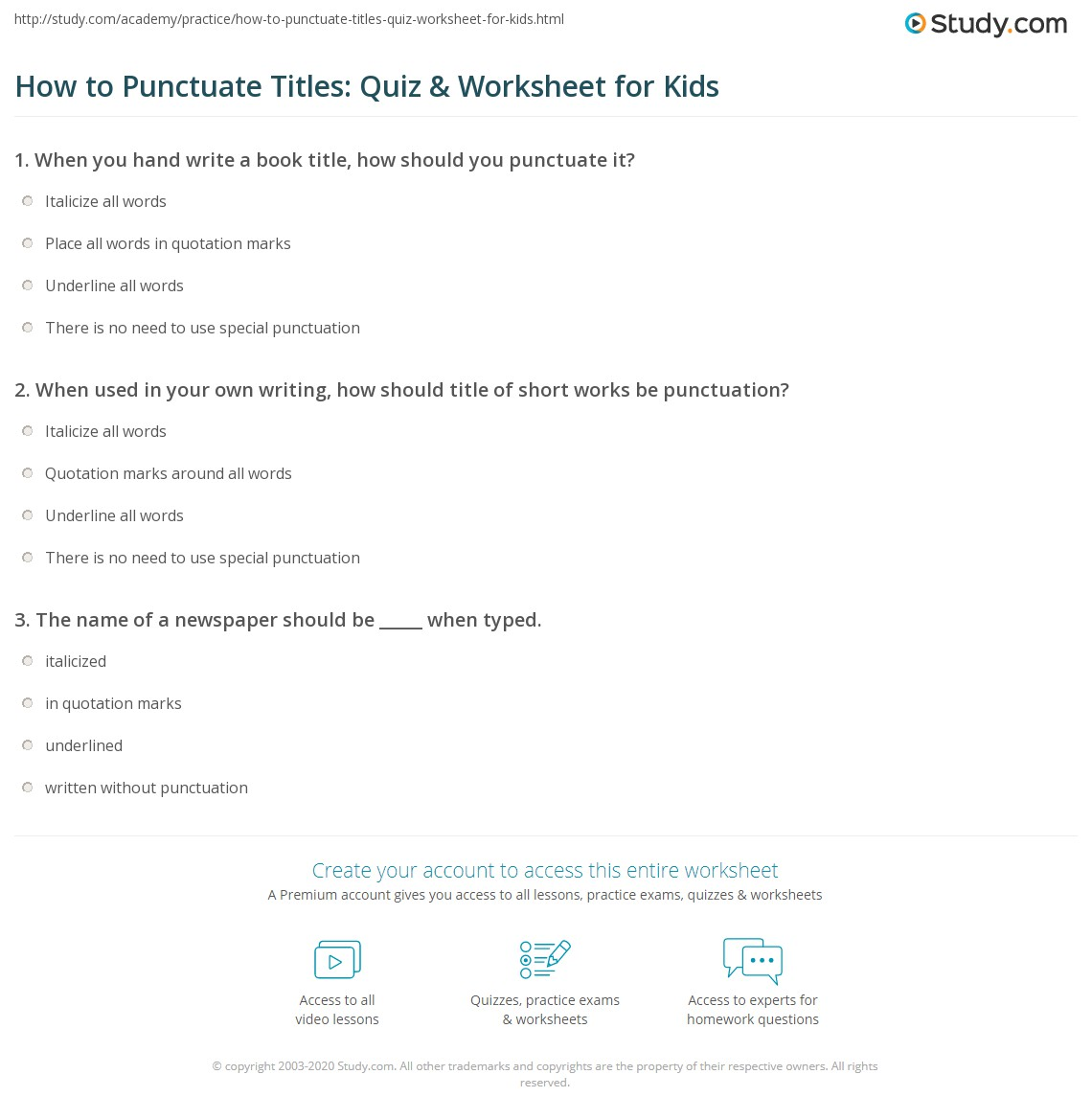 hight resolution of How to Punctuate Titles: Quiz \u0026 Worksheet for Kids   Study.com
