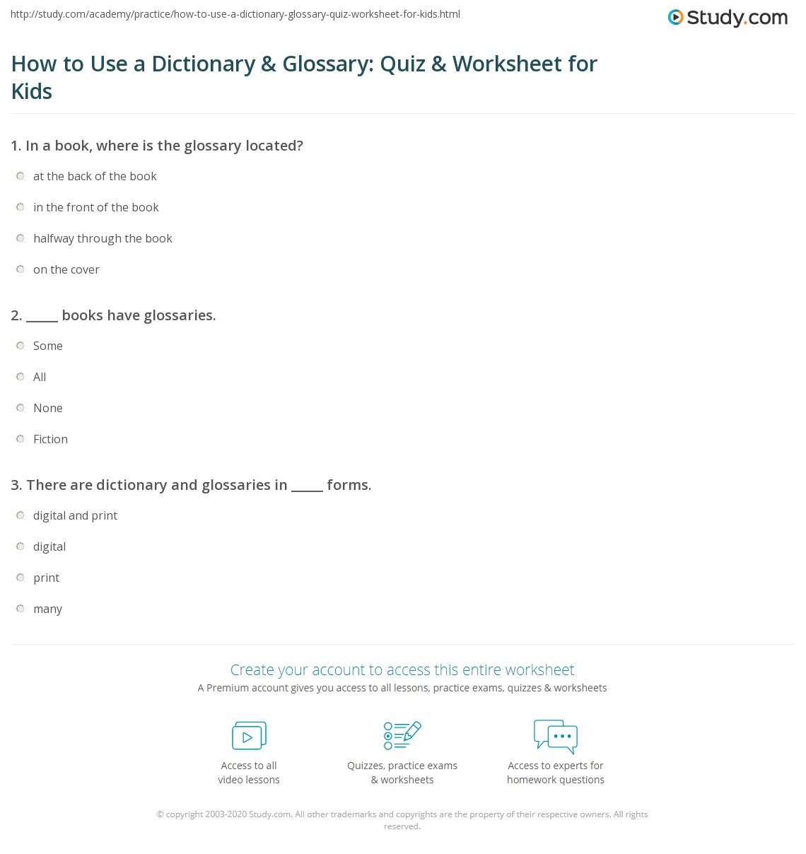 How To Use A Dictionary Amp Glossary Quiz Amp Worksheet For