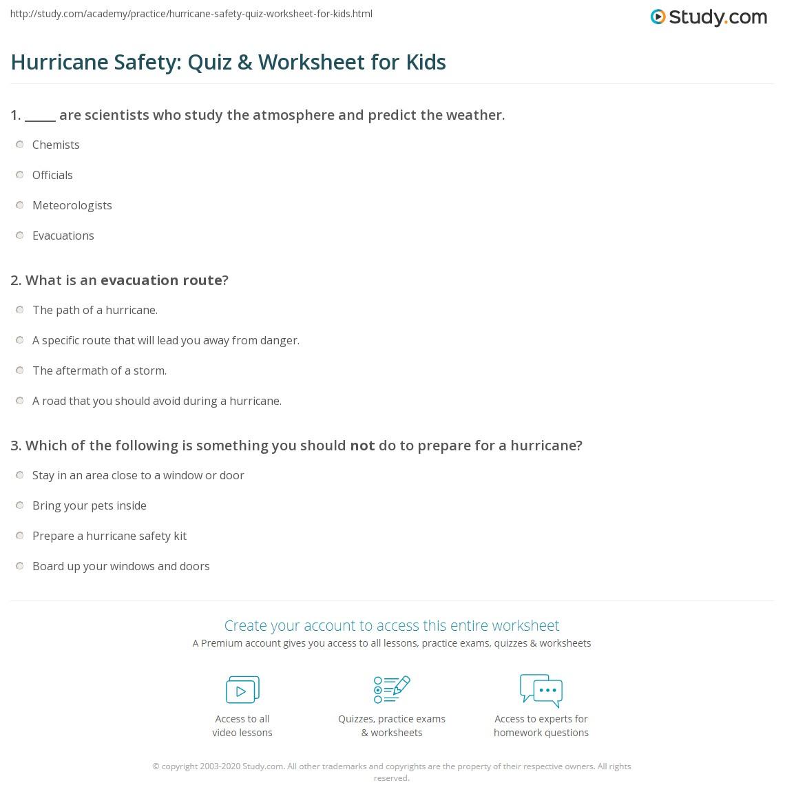 Hurricane Safety Quiz Amp Worksheet For Kids