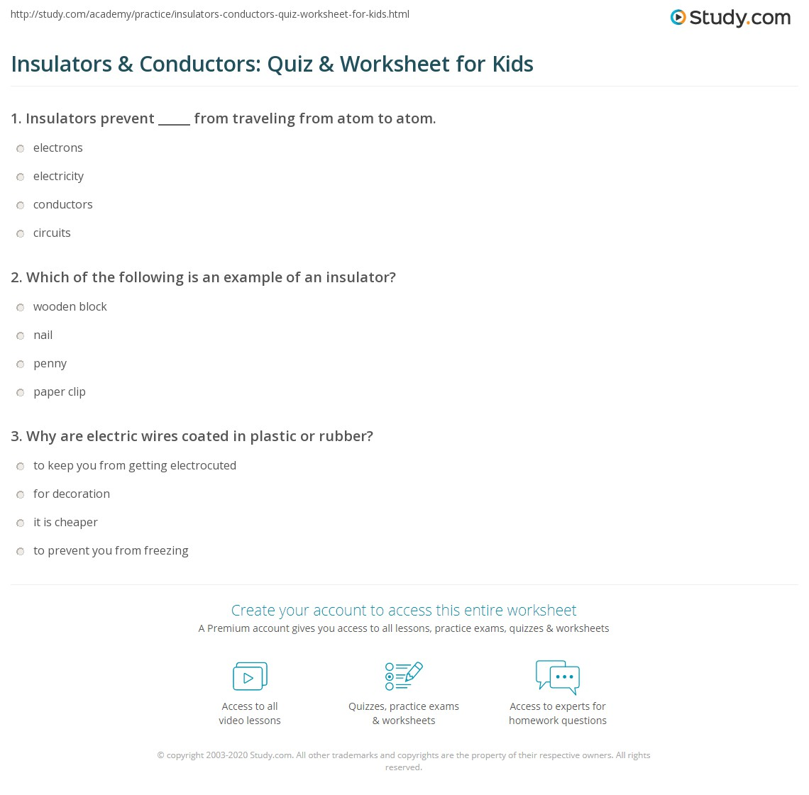 Insulators Amp Conductors Quiz Amp Worksheet For Kids