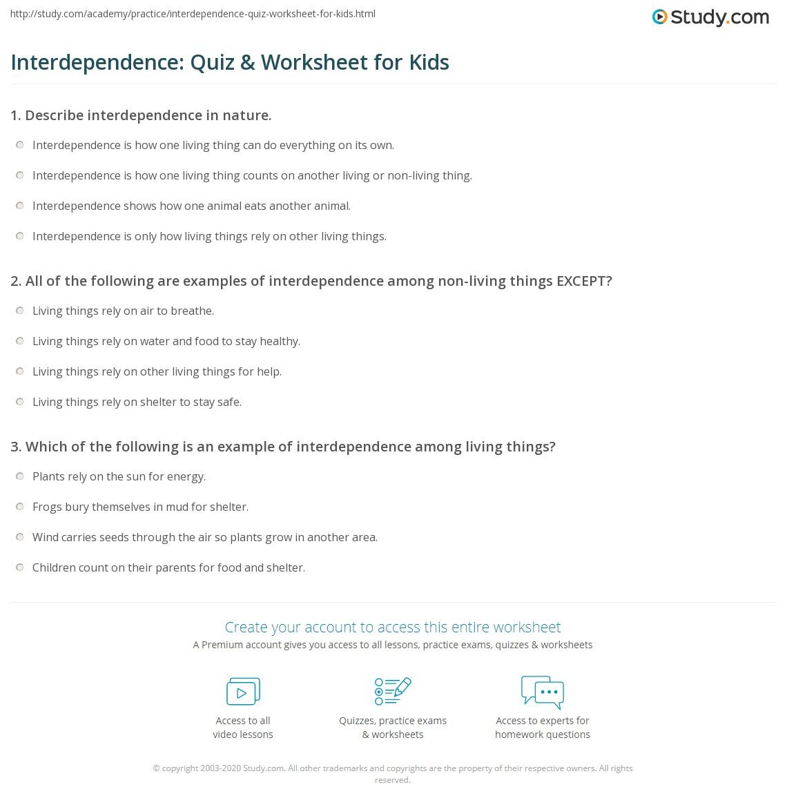Interdependence Quiz Amp Worksheet For Kids