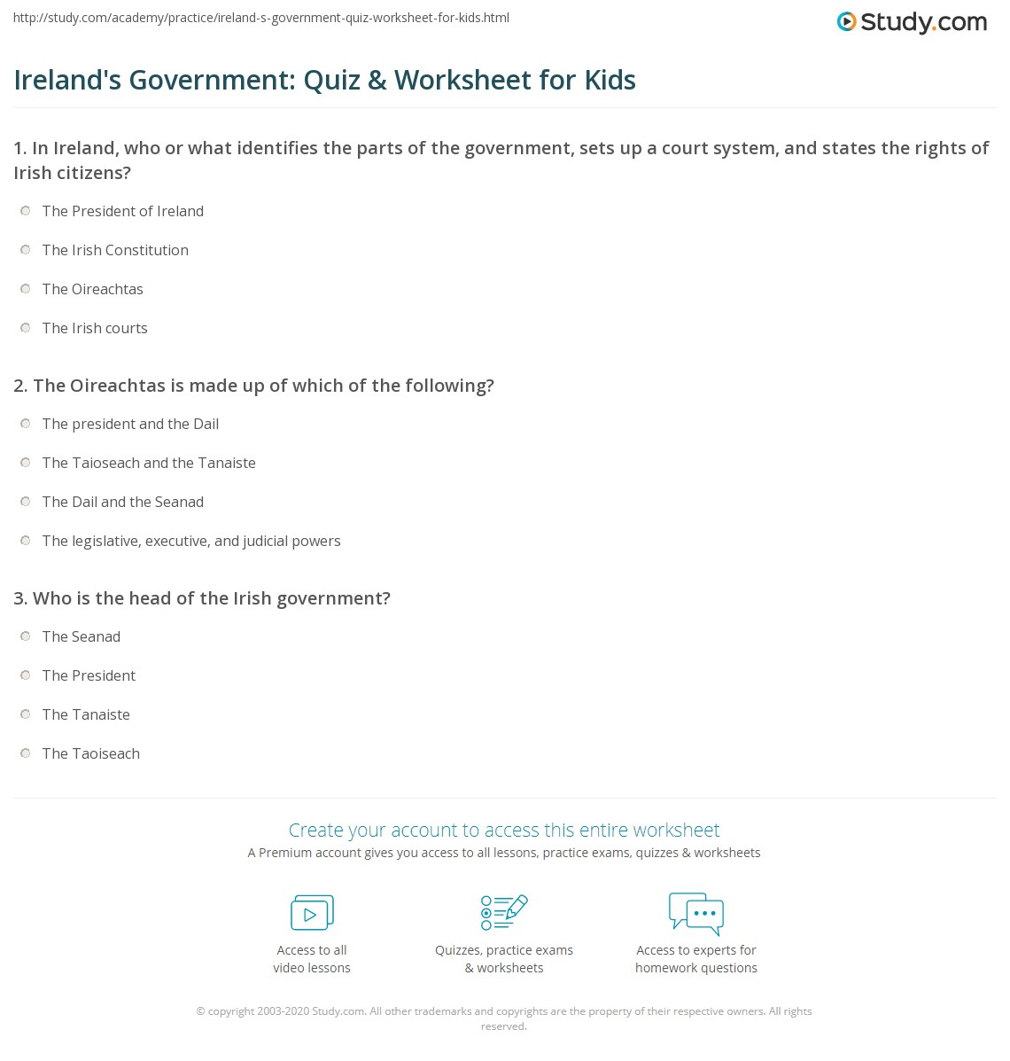 Ireland S Government Quiz Amp Worksheet For Kids