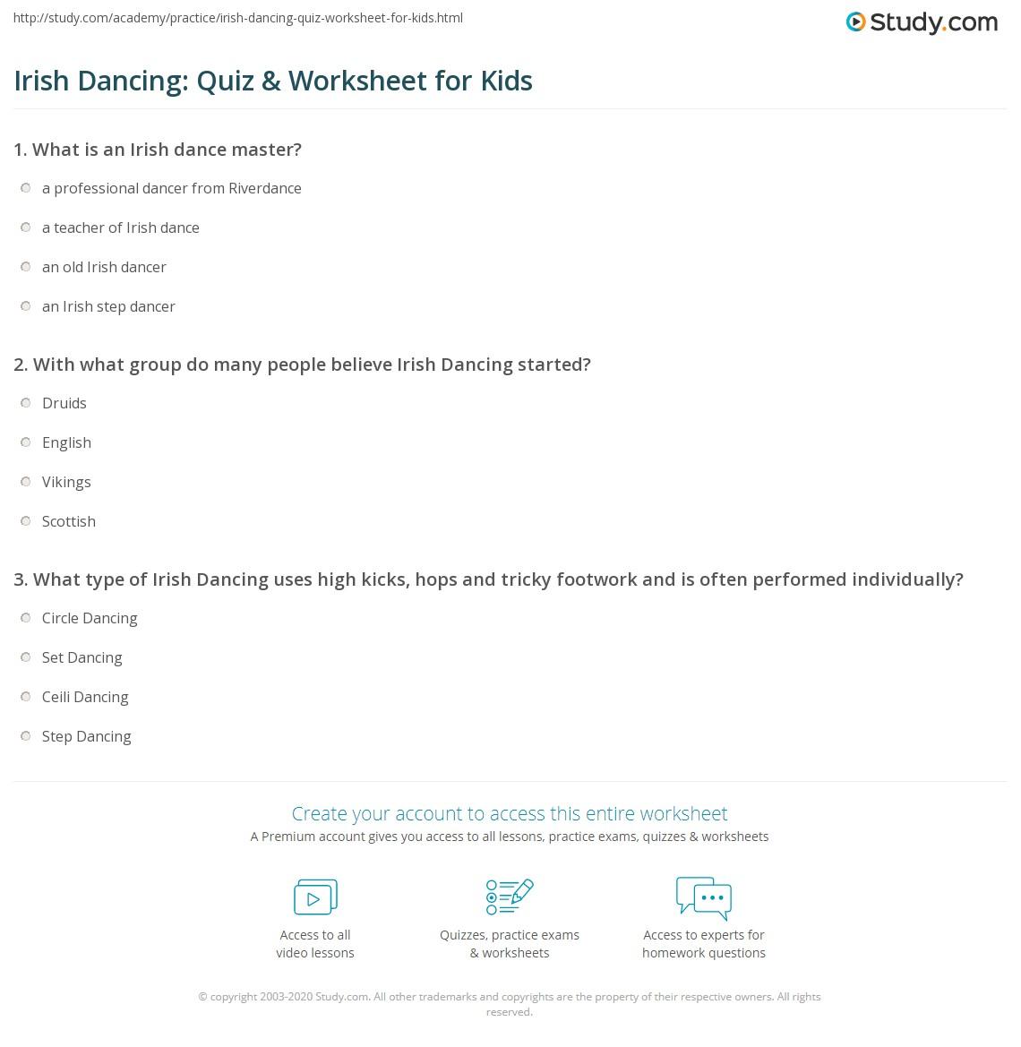 Irish Dancing Quiz Amp Worksheet For Kids