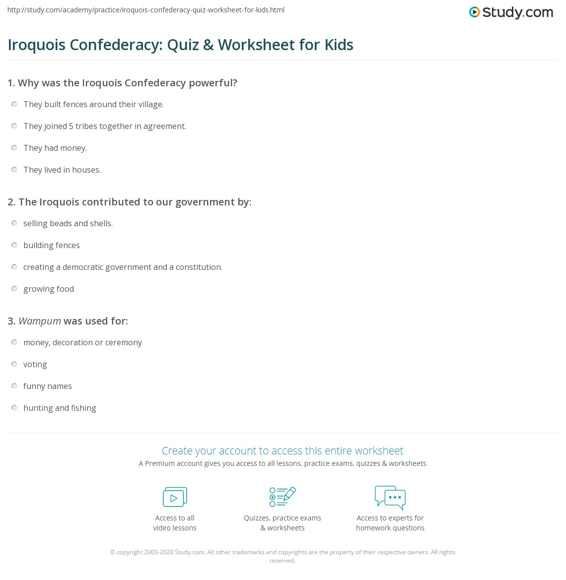 Iroquois Confederacy Quiz Amp Worksheet For Kids