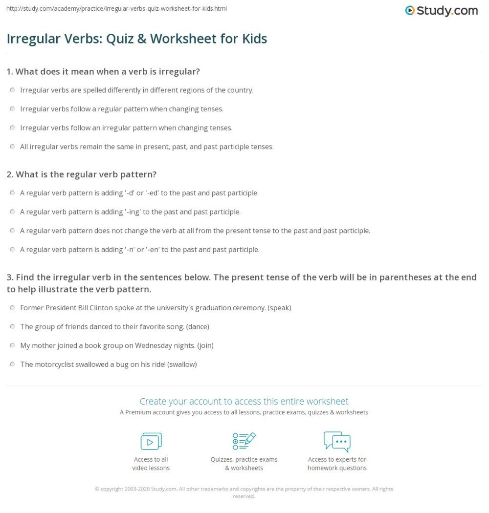 medium resolution of Irregular Verbs: Quiz \u0026 Worksheet for Kids   Study.com