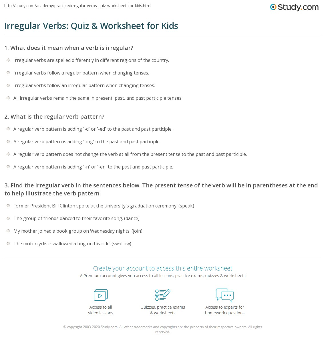 hight resolution of Irregular Verbs: Quiz \u0026 Worksheet for Kids   Study.com