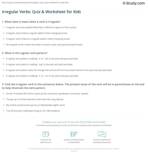 small resolution of Irregular Verbs: Quiz \u0026 Worksheet for Kids   Study.com