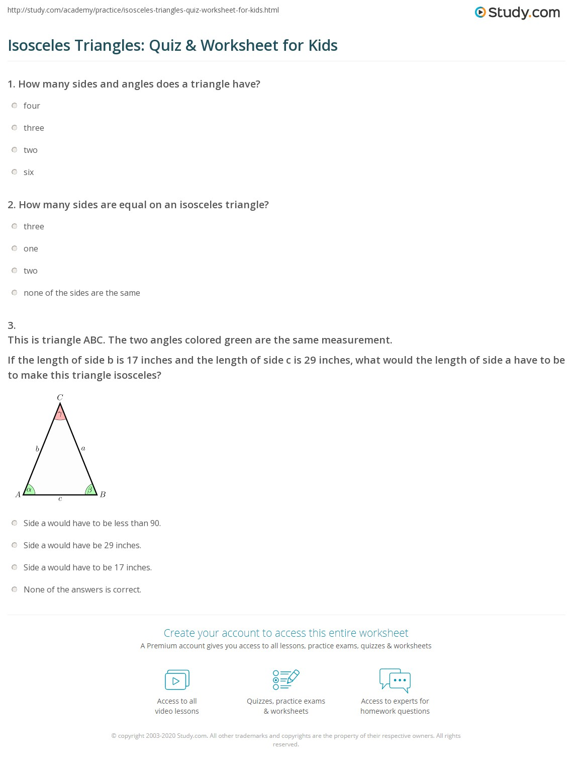 Isosceles Triangles Quiz Amp Worksheet For Kids