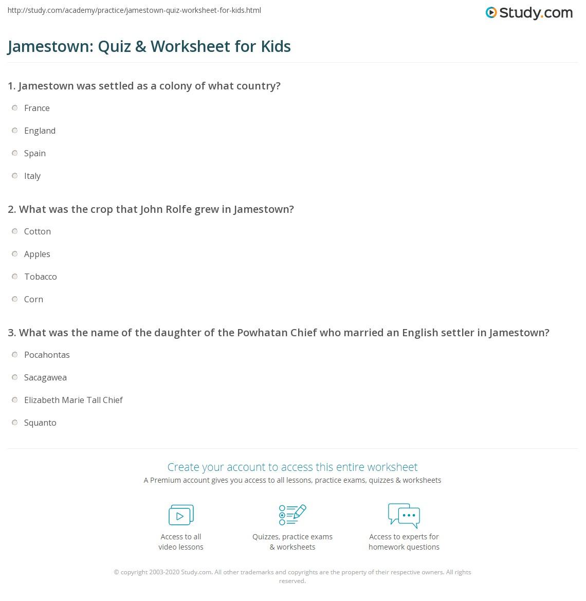 Jamestown Quiz Amp Worksheet For Kids