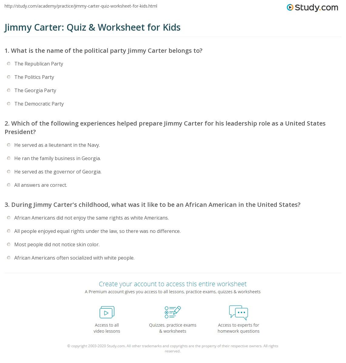 Jimmy Carter Quiz Amp Worksheet For Kids
