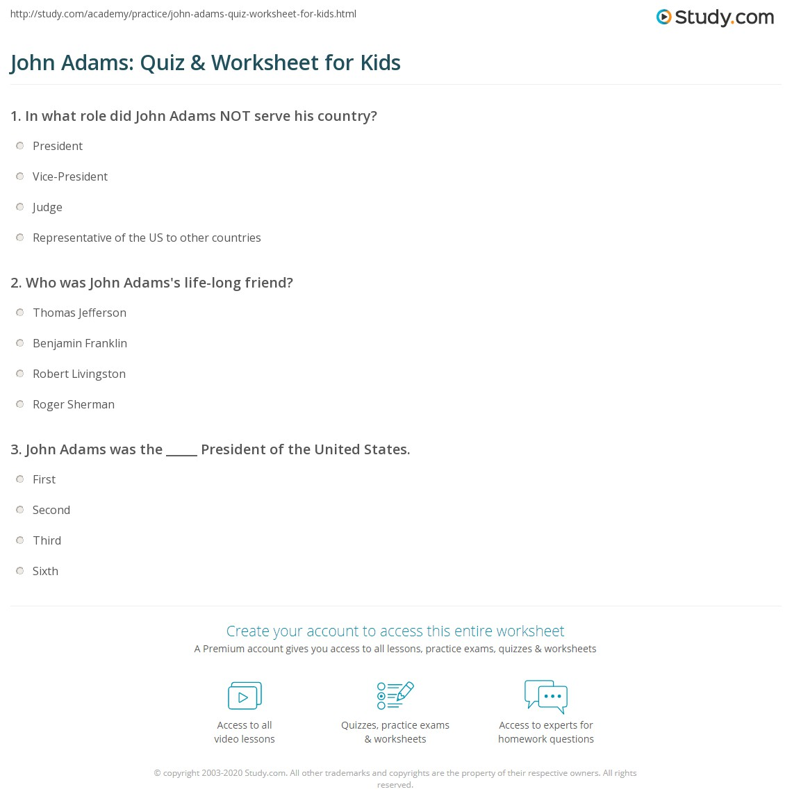 John Adams Quiz Amp Worksheet For Kids