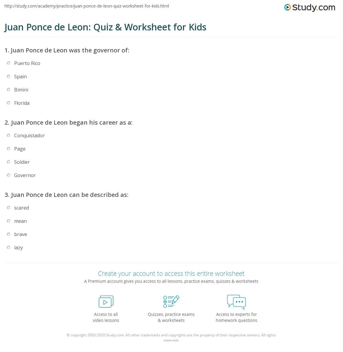 Juan Ponce De Leon Quiz Amp Worksheet For Kids