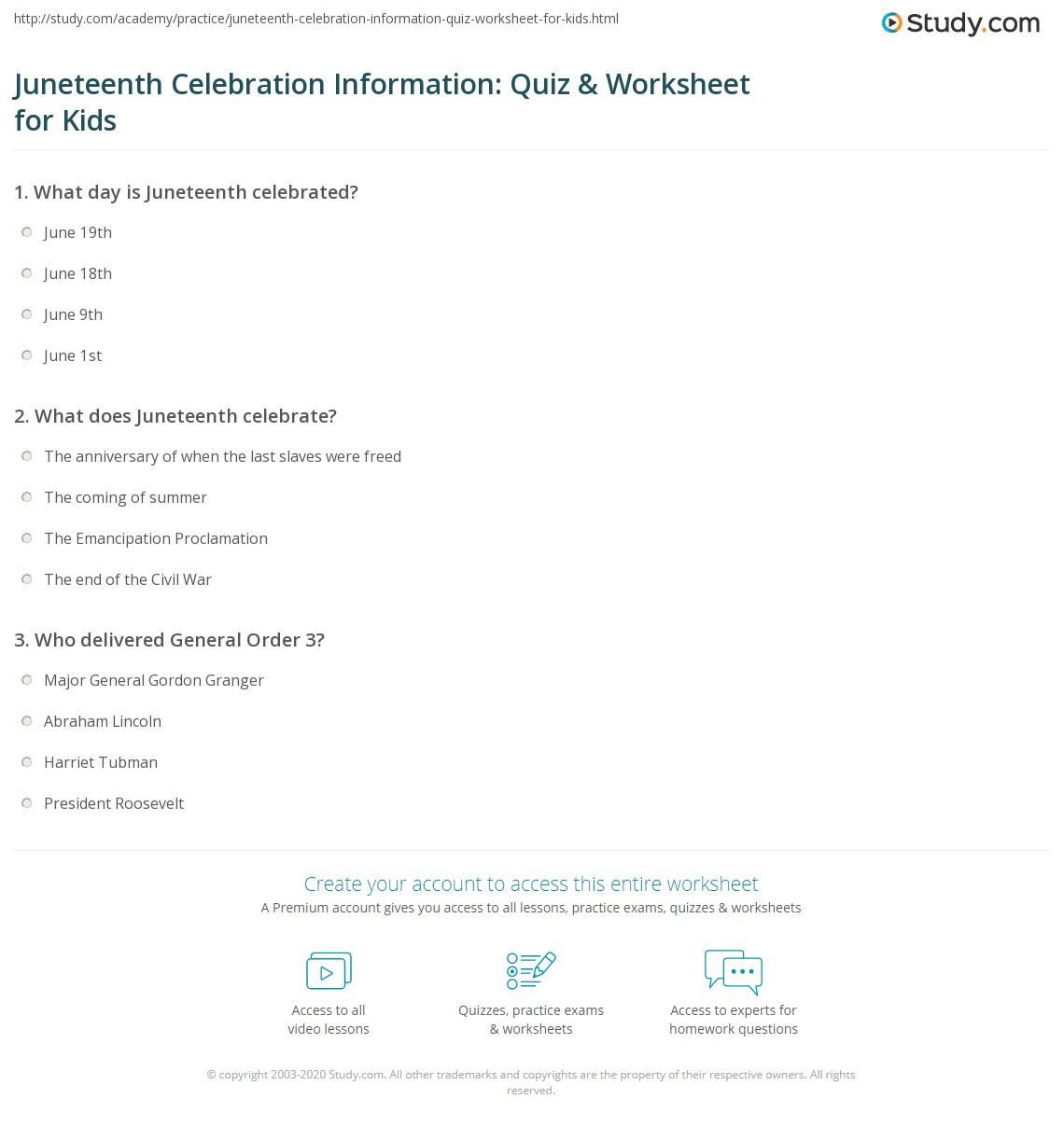 Juneteenth Celebration Information Quiz Amp Worksheet For Kids