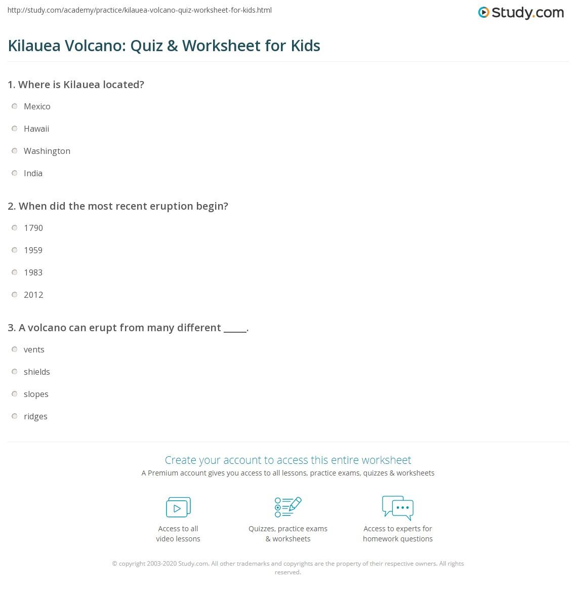 Kilauea Volcano Quiz Amp Worksheet For Kids