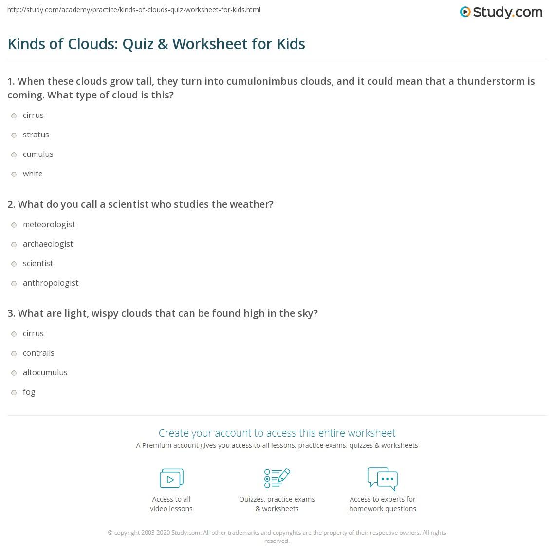 hight resolution of 31 Types Of Clouds Worksheet - Worksheet Resource Plans