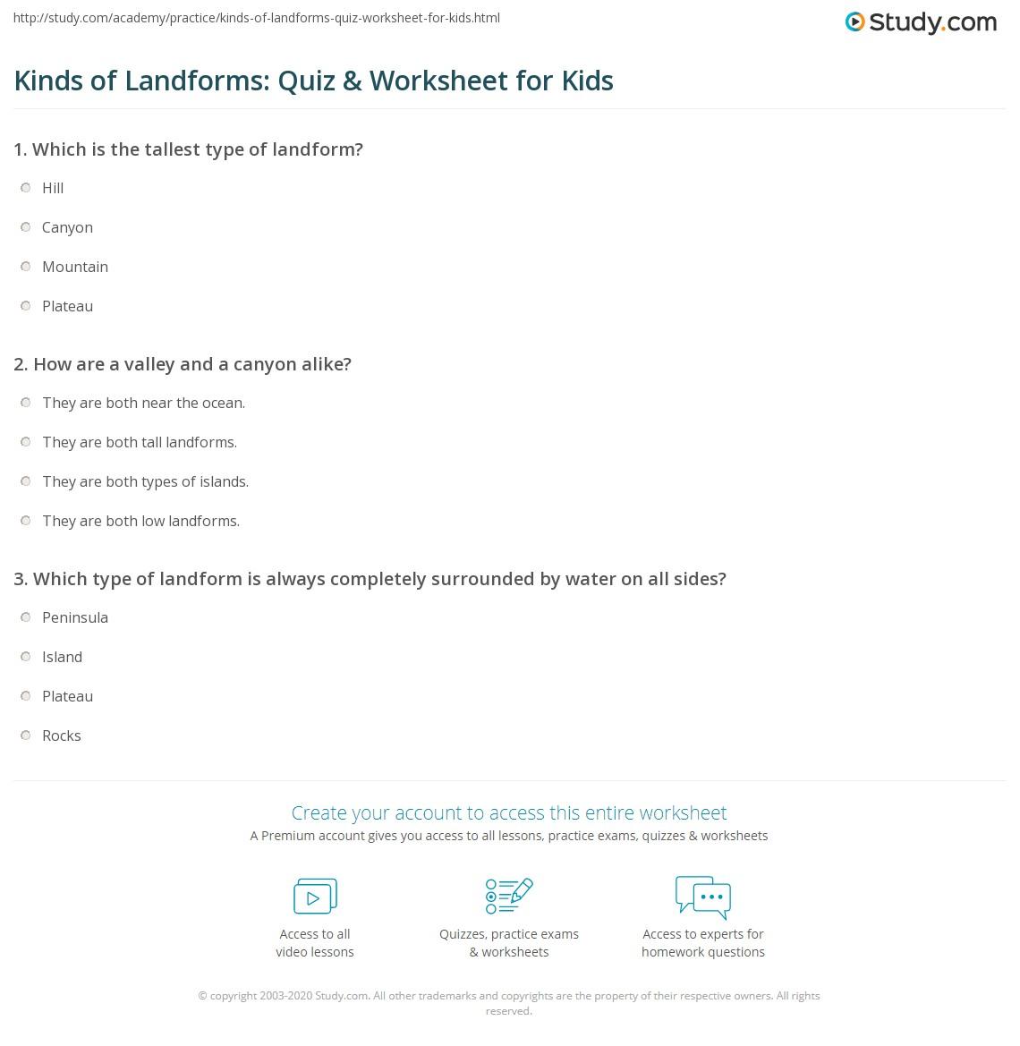 hight resolution of Kinds of Landforms: Quiz \u0026 Worksheet for Kids   Study.com