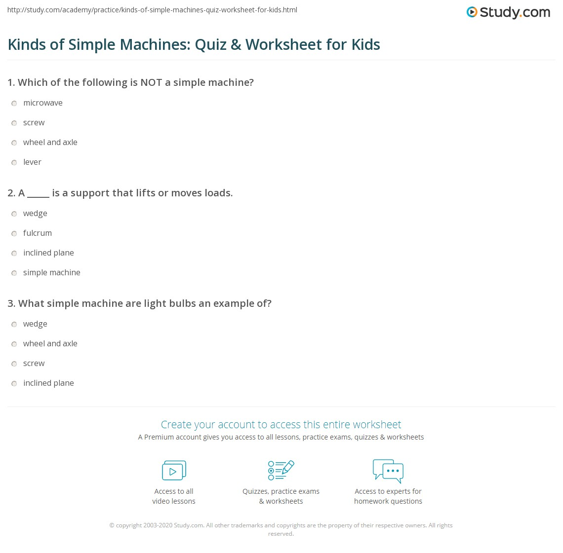 Kinds Of Simple Machines Quiz Amp Worksheet For Kids
