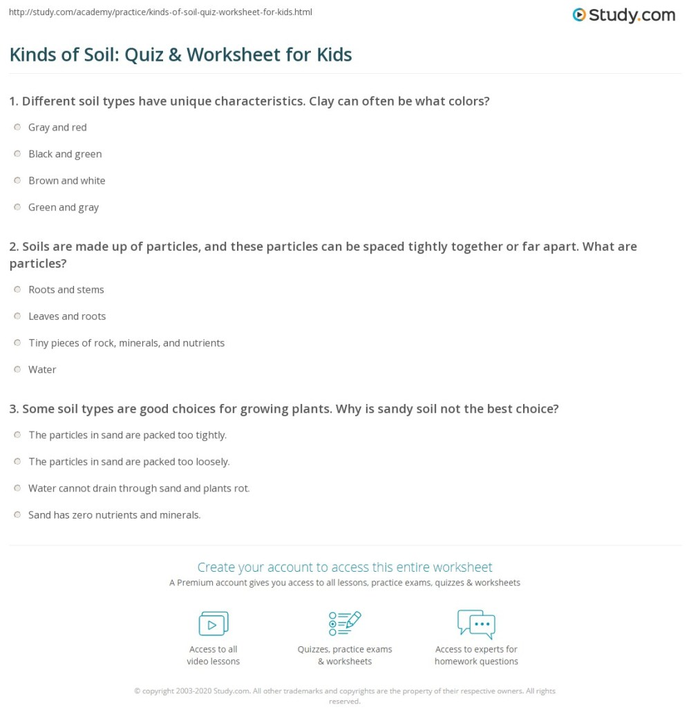 medium resolution of Kinds of Soil: Quiz \u0026 Worksheet for Kids   Study.com