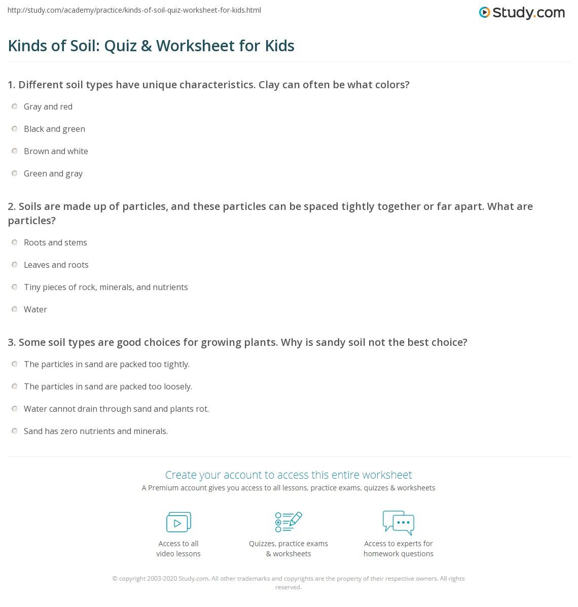 hight resolution of Kinds of Soil: Quiz \u0026 Worksheet for Kids   Study.com