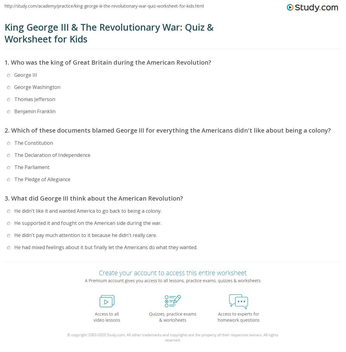 King George Iii Amp The Revolutionary War Quiz Amp Worksheet