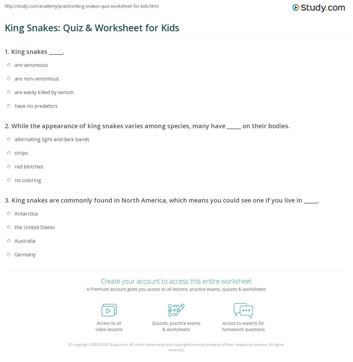 King Snakes Quiz Amp Worksheet For Kids