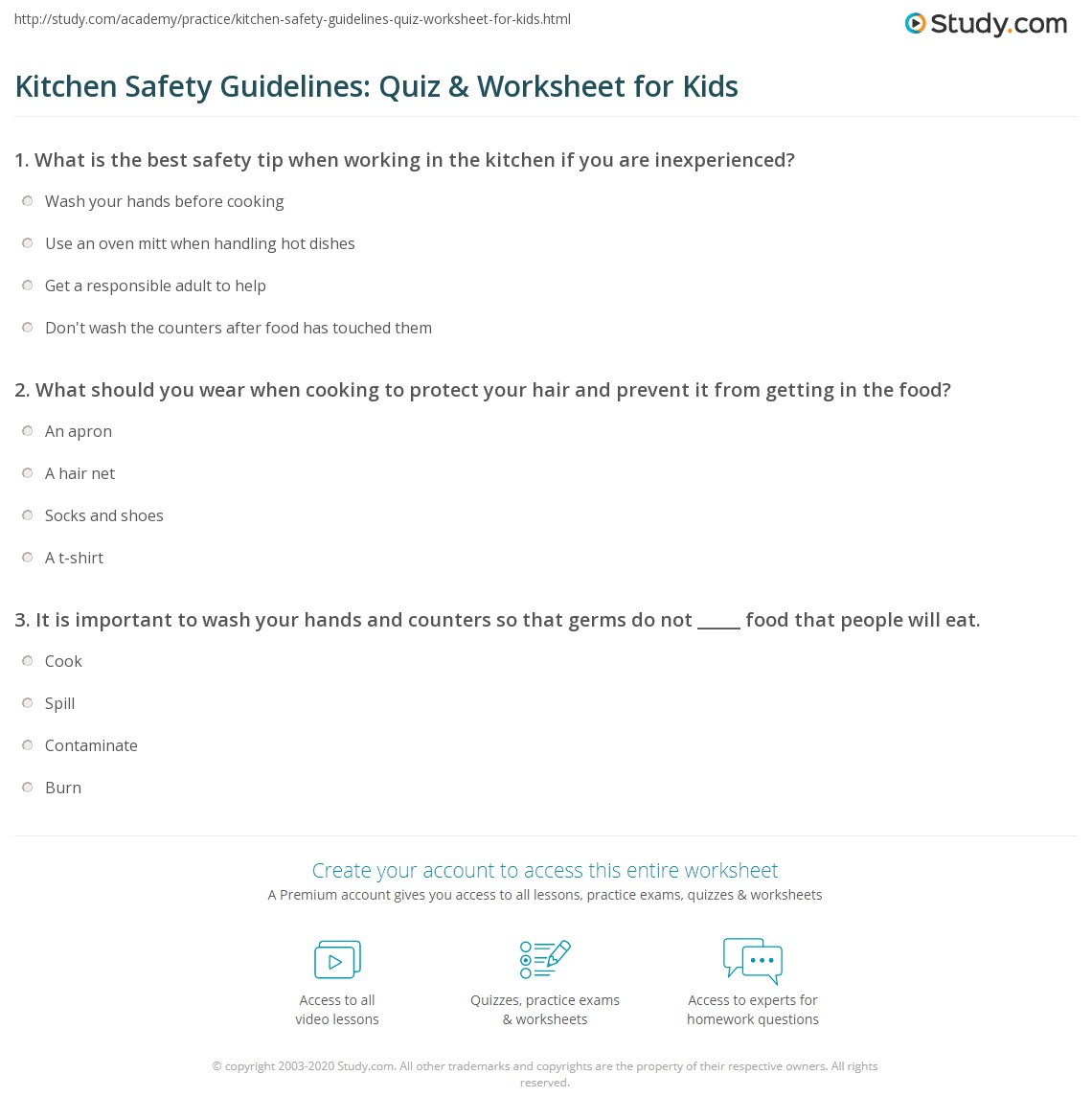 Kitchen Safety Guidelines Quiz Amp Worksheet For Kids