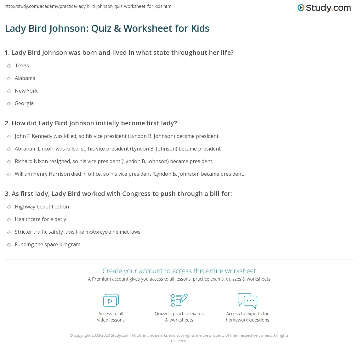 Lady Bird Johnson Quiz Amp Worksheet For Kids