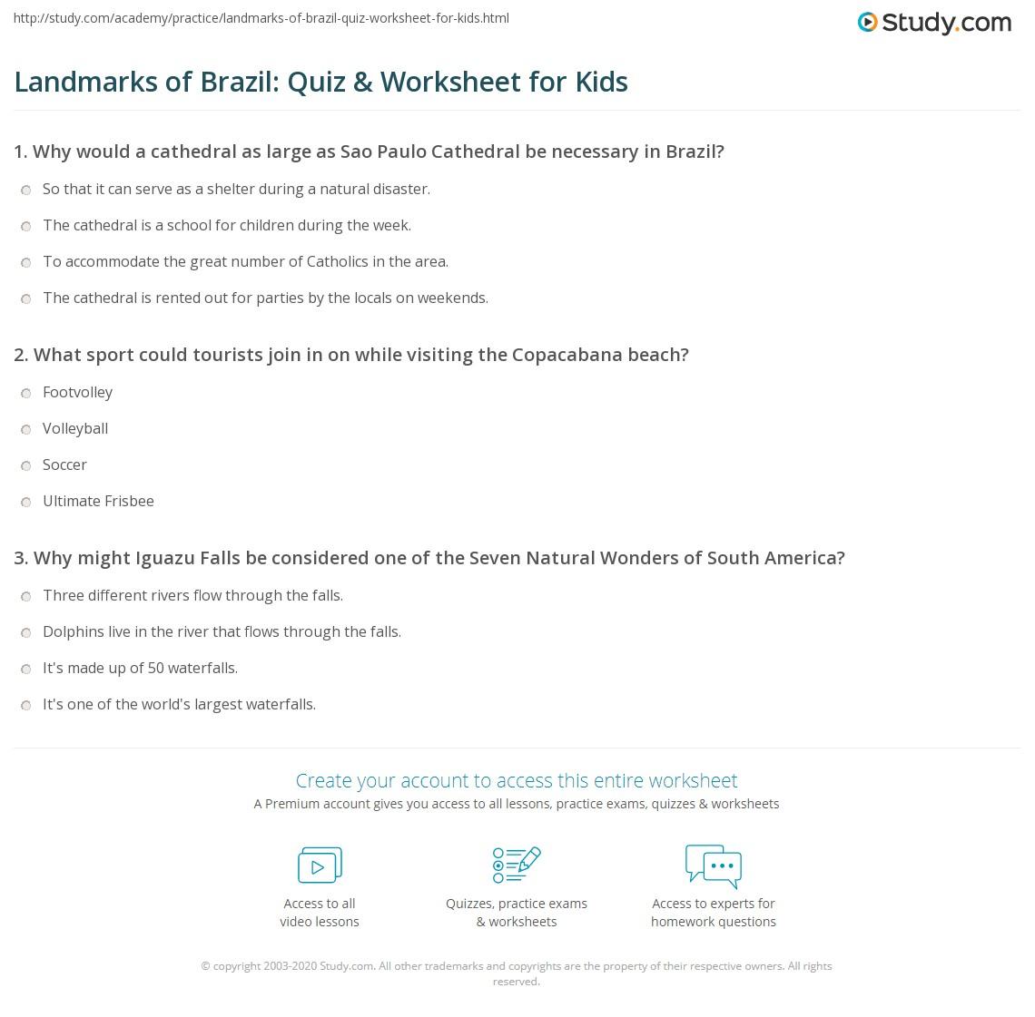 Landmarks Of Brazil Quiz Amp Worksheet For Kids