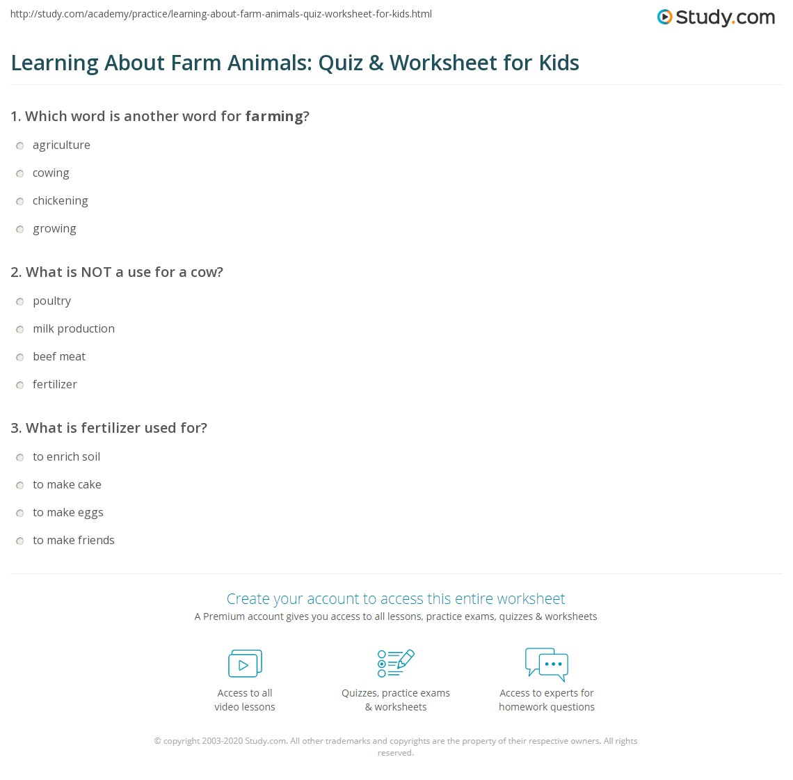 Learning About Farm Animals Quiz Amp Worksheet For Kids