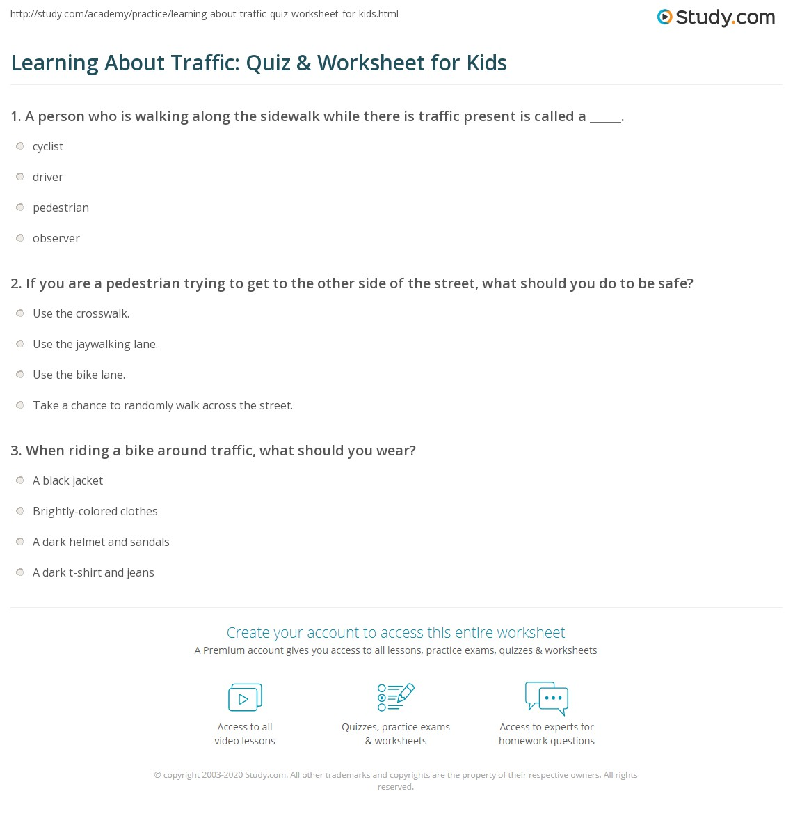 Learning About Traffic Quiz Amp Worksheet For Kids