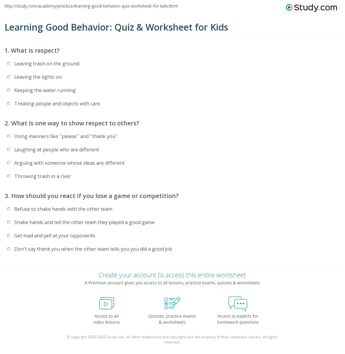 Learning Good Behavior Quiz Amp Worksheet For Kids