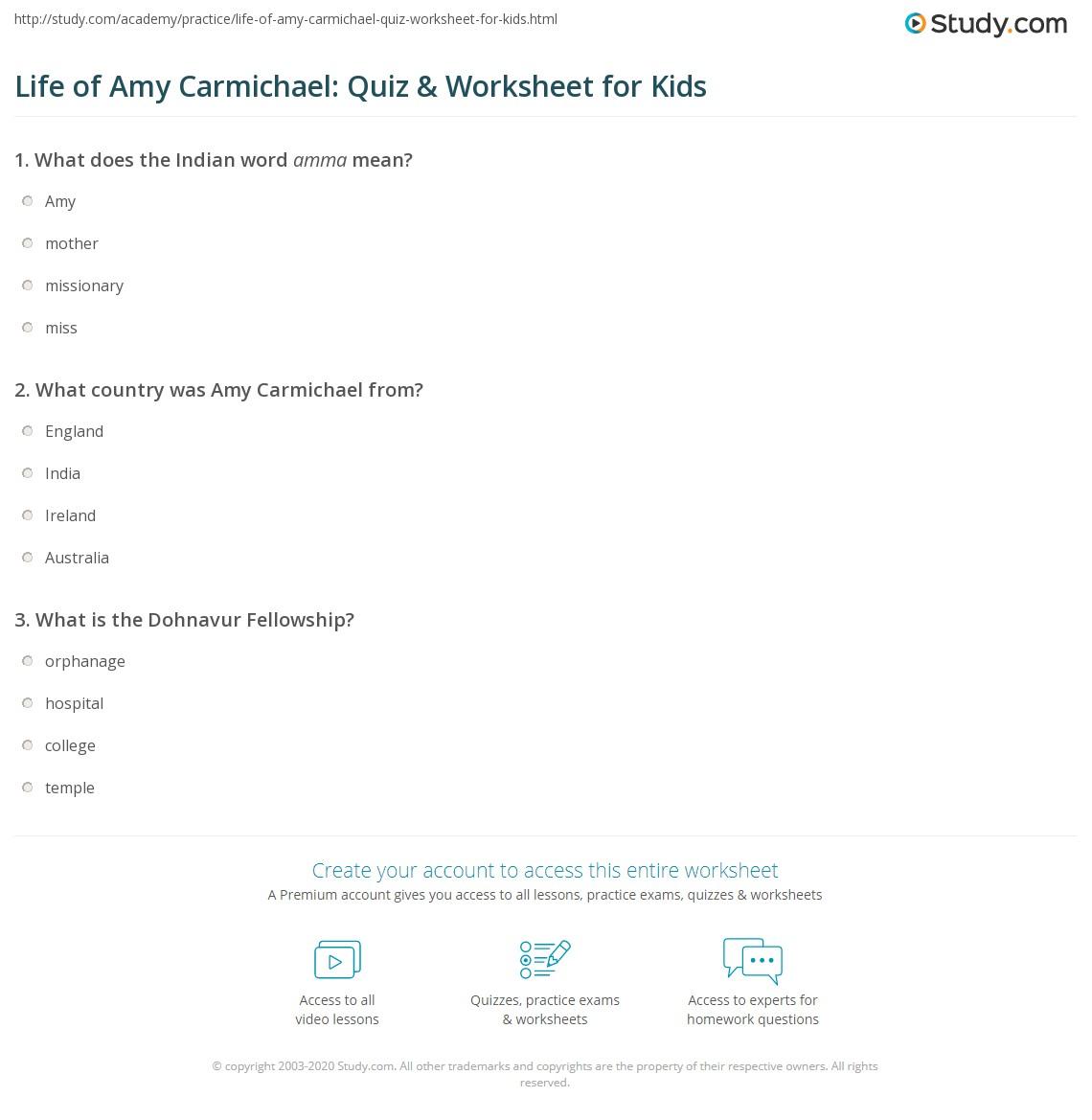 Life Of Amy Carmichael Quiz Amp Worksheet For Kids