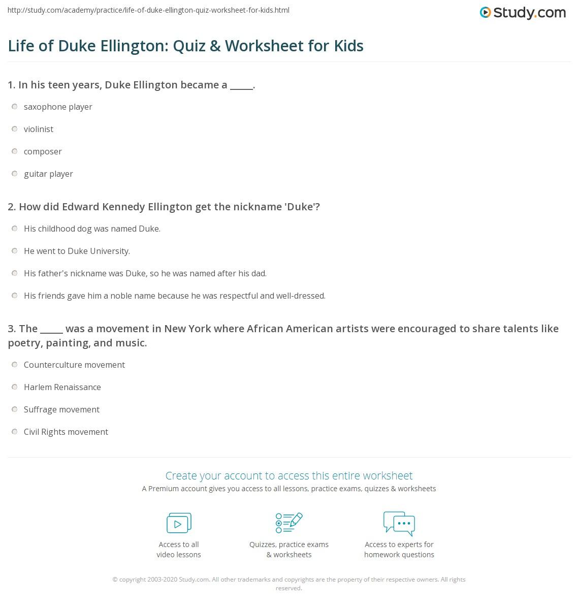 Life Of Duke Ellington Quiz Amp Worksheet For Kids